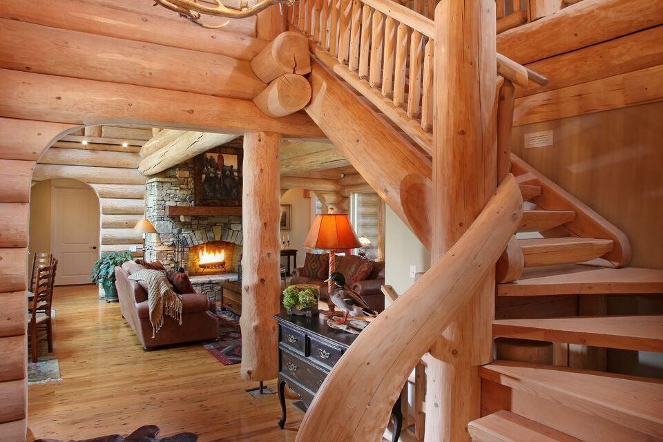 Rustic Log Home Staircase